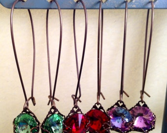 """vintage inspired, beautiful, sparkling """"statement"""" earrings."""