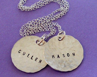 Sterling Silver Two Disc Name Necklace