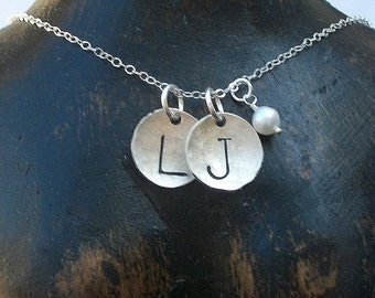 Sterling Silver Two Disc Initial Necklace