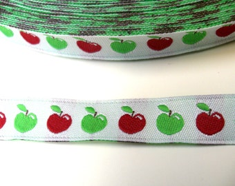 """1 m Woven Ribbon """"Red and Green Apple"""" 10 mm"""