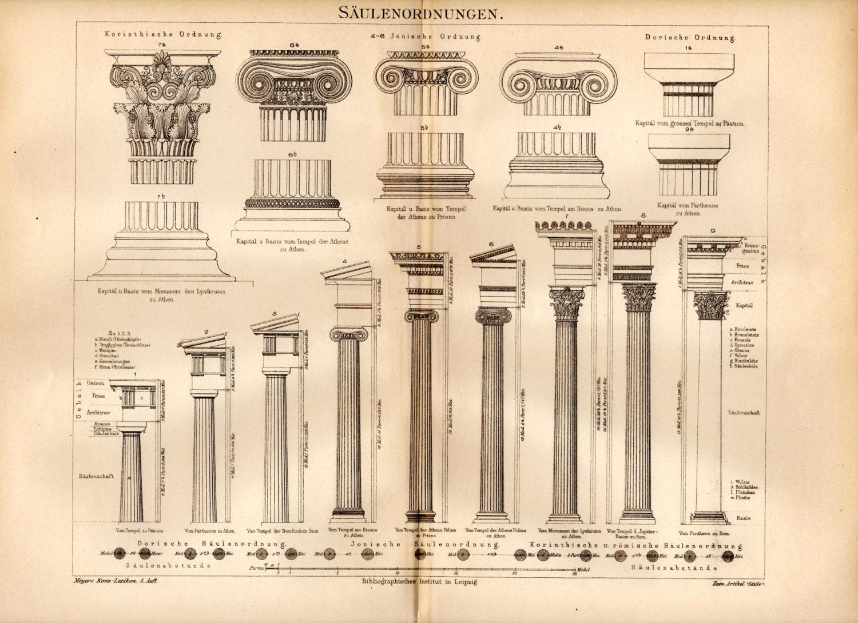 1897 Classical Order Columns Print Doric Ionic Corinthian
