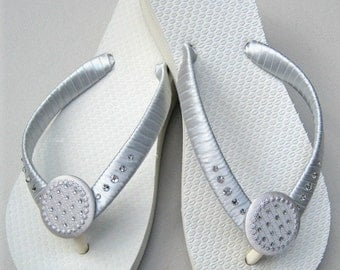 BRIDESMAIDS SWAROVSKI CRYSTAL Flip Flops, Bridal Party Gift, Beach and Outdoor Weddings, Dressy Evening Sandal, Many Colors, Flats or Wedge