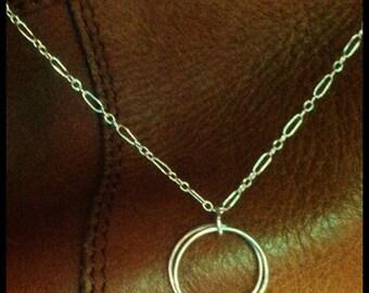 Fine Silver Hoop Pendant Necklace - The Phlox Pendant from Sandra Eileen Designs
