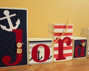 Personalized Nautical Wood Blocks  Letter Blocks  Nautical Nursery Art  Nautical  Room Decor
