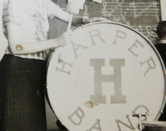 Vintage 1930's Cute Harper High School Chicago Band Snapshot Photo - Free Shipping