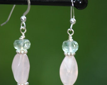 Aqua Marine, Rose Quartz, Swarovski Crystal Sterling Silver Earrings