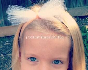 The Abby, Tulle Headband, tulle headpiece, tulle hairbow, tulle hair bow, tulle hair piece