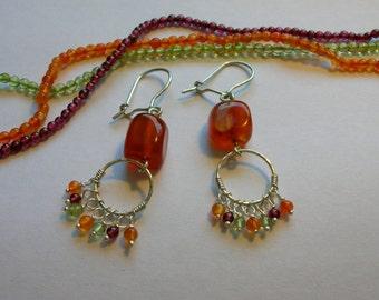 Carnelian Earrings. Handmade Earrings of Sterling Silver combined with Gemstone beads. Carnelian, Garnet and Peridot Gemstones.