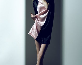 Silk dress with slash color block