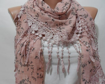 Floral Scarf Shawl Cotton Scarf Cowl Scarf with Lace Edge Fall Spring Fashion Scarf Women's Fashion Accessories Gift Ideas For Her ScarfClub