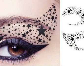 Holiday Stars Temporary Tattoo Makeup Eyeshadow Eye Applique Masquerade Mardi Gras color guard Gift christmas stocking stuffer accessories