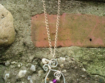 Hammered Wire Spiral Pendant Necklace