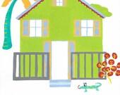Nursery art, baby boy artwork, nursery artwork, childrens print, nursery art, nursery decor, Green House, 8 x 10 print.