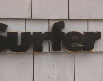 Surfer Wood Sign Letters Word Art Beach Surf Decor