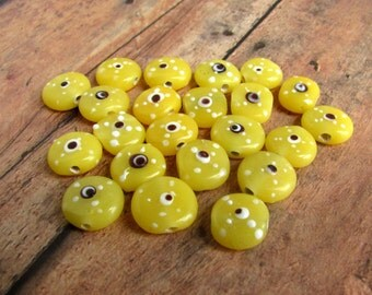 Yellow Lampwork Eye Beads, Lampwork Beads, Handmade Beads, Yellow Beads, Eye Beads, Glass Eye Beads, Coin Beads, 10x11mm, OOAK