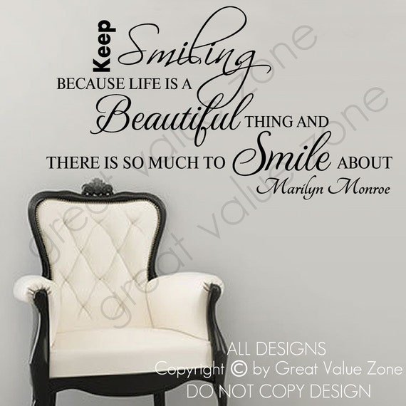 Marilyn Monroe Keep Smiling Life Inspiration Wall Quote Vinyl