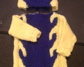 Neon Yellow & Blue Fleece 2-Tone-Cable-Knit Baby Sweater w/ Hat Set