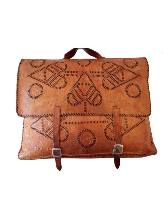 RESERVED // VINTAGE // very old  SATCHEL tooled   tan leather shoolbag  //briefcase // laptop recycled // etnic // rustic
