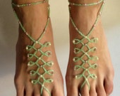 Irish-Green Glass Beaded Barefoot Sandals. Fine Shoeless Foot Jewelry