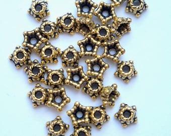 4mm bead caps, 100 gold, antique gold beadcaps pack of 100 BCG013