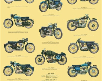 Classic AJS Motorcycle Poster reproduced from the original 1960 range brochure