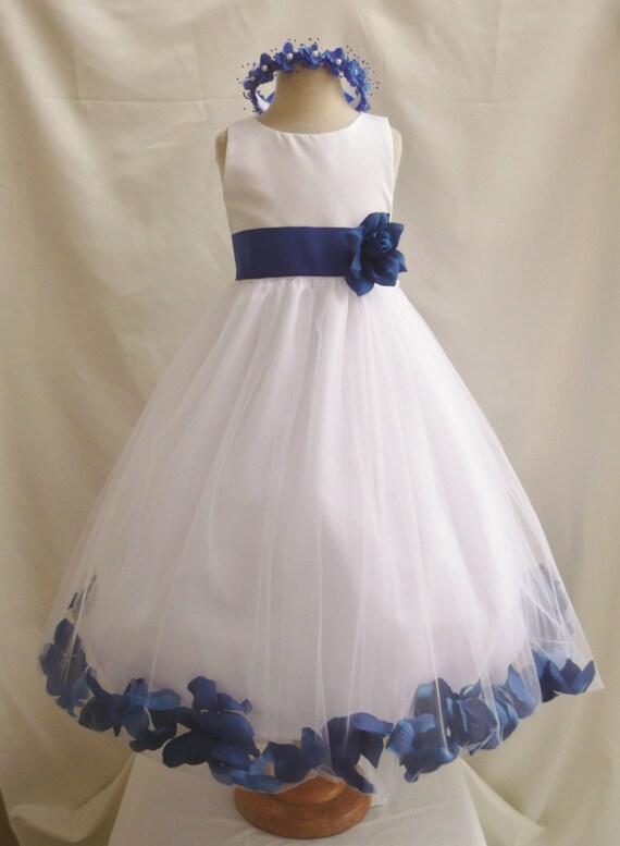 Flower Girl Dress Ivory Rose Petal Dress With Blue By LuuniKids
