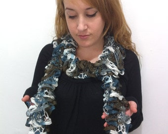 Ruffle Scarf Brown-Blue-White Hand knitted - IN SALE