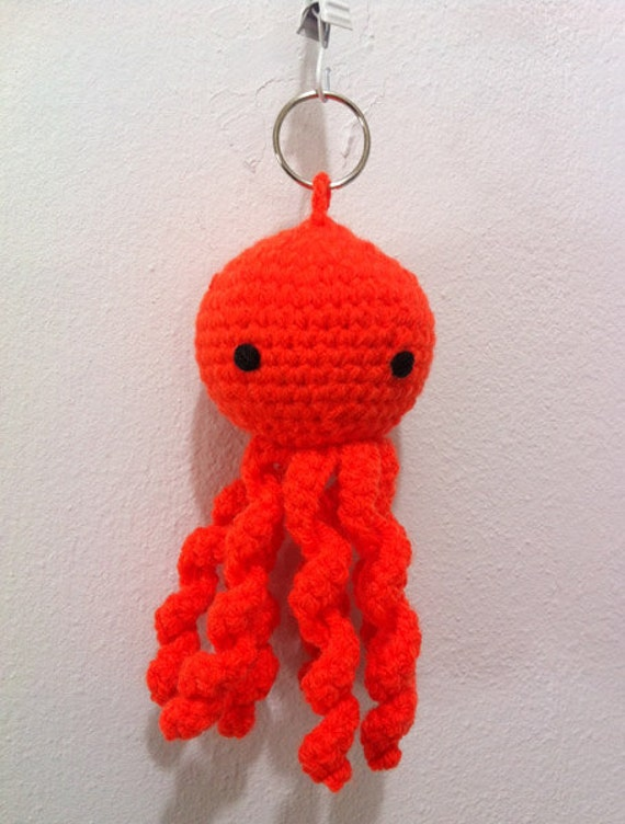 Crochet Keychain : Orange Octopus crochet keychain by SandizCraft on Etsy