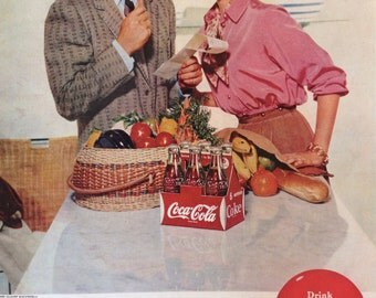 Vintage 1955 Coca-Cola Ad, Paper Ephemera taken from a Saturday Evening Post.