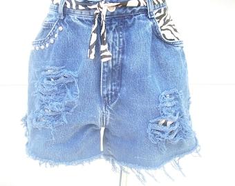 High Waisted Shorts, Denim Zebra Shorts, Upcycled Clothing, Studded Shorts, Grunge Shorts, Distressed Shorts, Hipster Clothing, Size 12