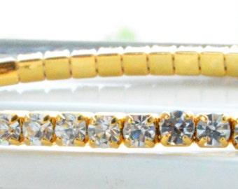 Gold Crystal Bracelet - Gold Tennis Bracelet - Adjustable Gold Bracelet - Swarovski Bracelet - Bridal Bracelet - Bridesmaid Wedding Jewelry