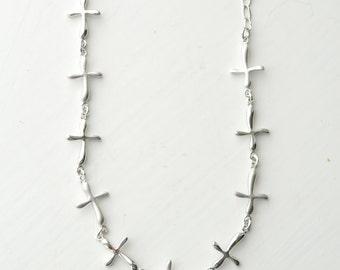 Silver Cross Bracelet - Chain of Crosses Bracelet - Silver Infinity Bracelet - Infinity Tennis Bracelet - Bridesmaid Gift - Thin Bracelet