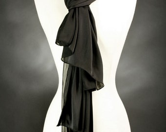 Black Scarf Silky Polyester Handmade Elegant Womens Gifts Birthday Gifts Neck Scarf Shoulder Scarf