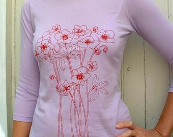 Lavender t shirt with red flower design 3/4 sleeves boat neck tee
