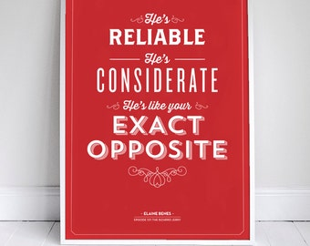 "The Exact Opposite Poster 11x17"" - Seinfeld Quote Print - Vintage Retro Typography"