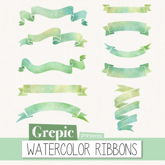 Watercolor ribbon clip art: WATERCOLOR RIBBONS by Grepic ...