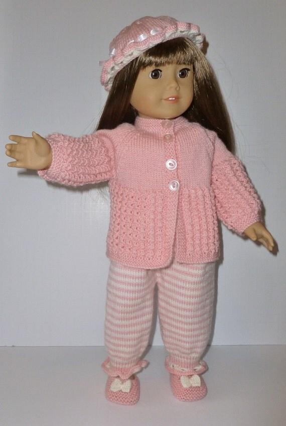 Doll Knitting Pattern PDF A003 Pink Stripes