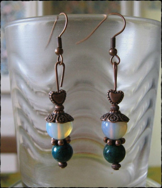Handmade Copper Earrings with Chrysocolla & White Opal by IreneDesign2011