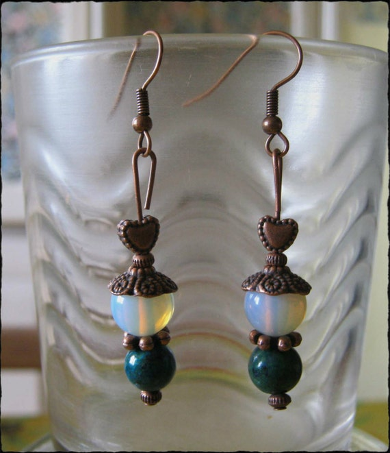 Handmade Copper Hook Earrings with Chrysocolla & White Opal by IreneDesign2011