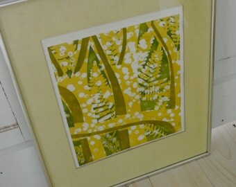 Vintage Wood Block Fern Nature Print with Yellows, Greens and Whites