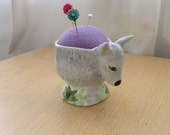 Sheep Recycled Eggcup Pincushion