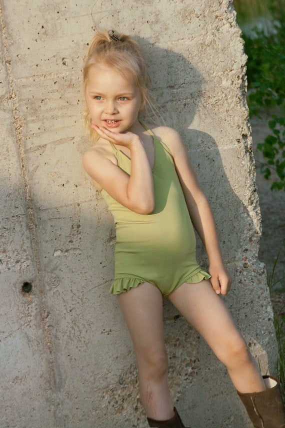 Items Similar To Babygirl Olive Green Color Vintage Inspired Swimwearretro Style One -1414
