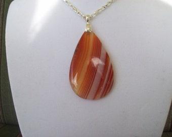 Orange Striped Agate Pendant