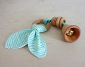Wood Ring and Bead Jingle Bell Baby Teething Toy with Aqua Blue Striped Fabric
