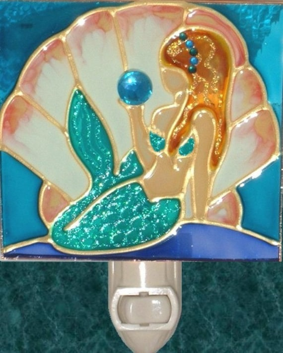 Hand Painted Mermaid Bathroom Decor Coastal Beach Night Light