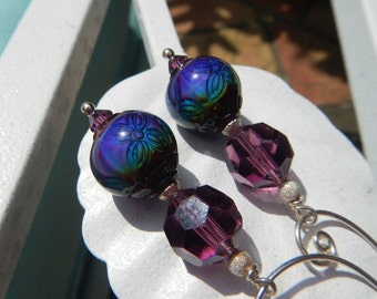 Feeling Purplish Earrings - Fabulous One-of-a-Kind Earrings w Color-Changing Mood Beads, Heirloom Crystals & Handmade Sterling Silver Hoops