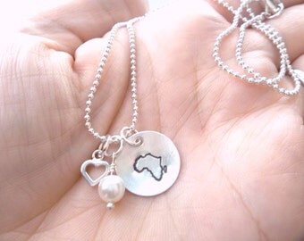 Custom Hand Stamped Sterling Silver AFRICAN ADOPTION Necklace with vintage pearl and silver filled heart charm
