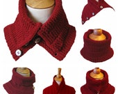 VALENTINE  Scarf Pattern:  Knit Convertible Capelet Cowl Plus 2 Tutorials Instant Download