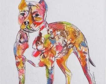 Pit Bull Art Print Terrier Silhoutette 8 x 10 Home Dog Decor Terrier Wall decor art gift pittie pitbull