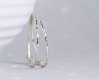 Flint Hoops - sterling silver hoop earrings with hammered facets